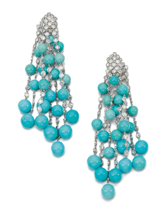 TURQUOISE AND DIAMOND EARRINGS, MICHELE DELLA VALLE, sotheby's